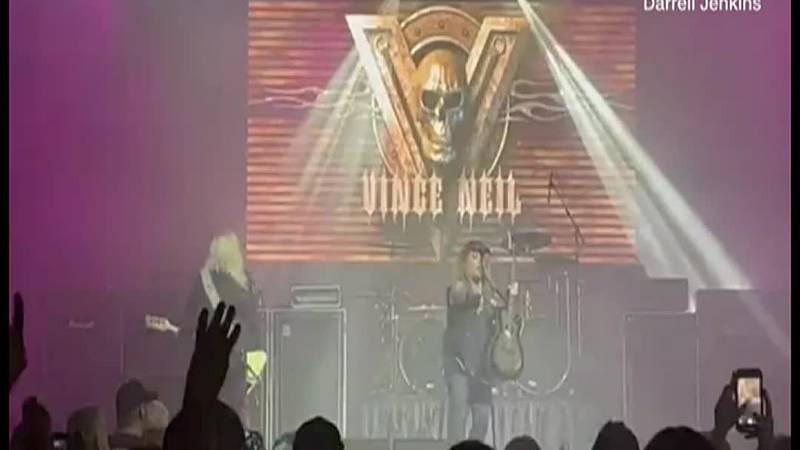 Mötley Crüe singer Vince Neil suffered broken ribs after falling off the stage at a concert...