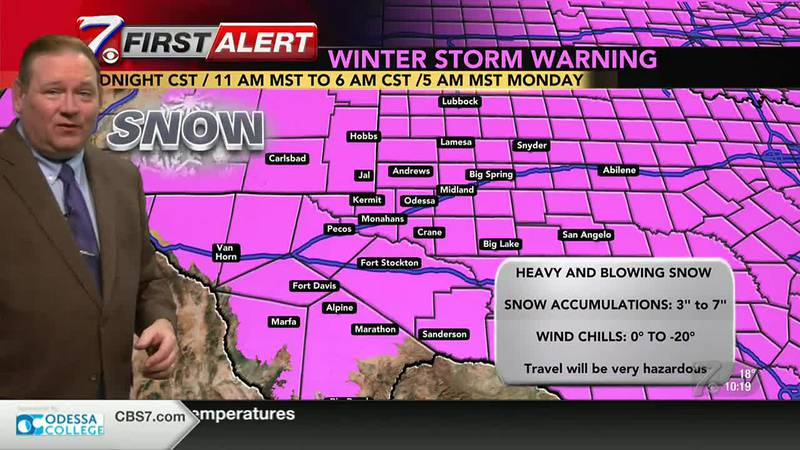 West Texas Winter Weather Forecast 10 p.m. 2/13