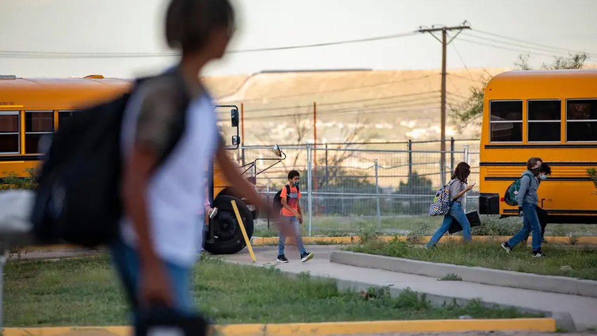 Students arrived at Morehead Middle School in El Paso on Thursday.