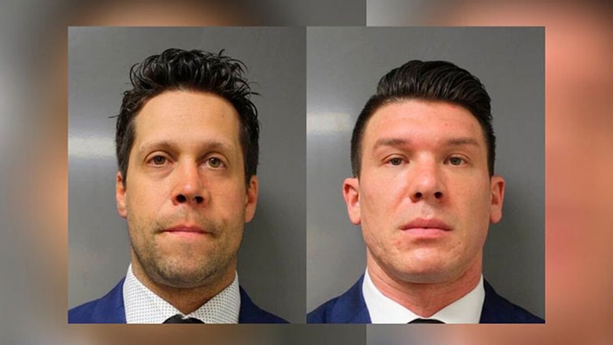 This June 6, 2020 photo provided by the Erie County District Attorney's Office in Buffalo, N.Y., shows suspended Buffalo police officer Aaron Torgalski (left) and Robert McCabe (right). Prosecutors say Torgalski and McCabe was charged with assault Saturday, June 6, 2020 after a video showed him and another officer shoving a 75-year-old protester on Thursday, June 4, in a recent demonstration over the death of George Floyd in Minnesota. (Source: Erie County District Attorney's Office via AP)