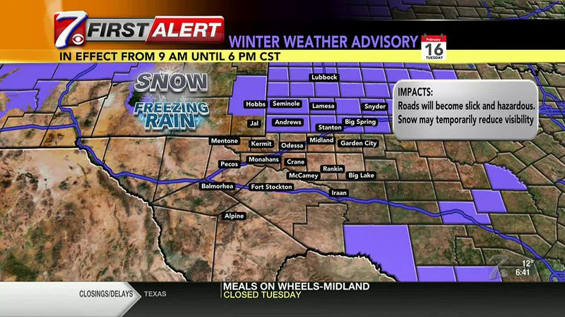 West Texas Winter Weather Forecast 7 a.m. 2/16