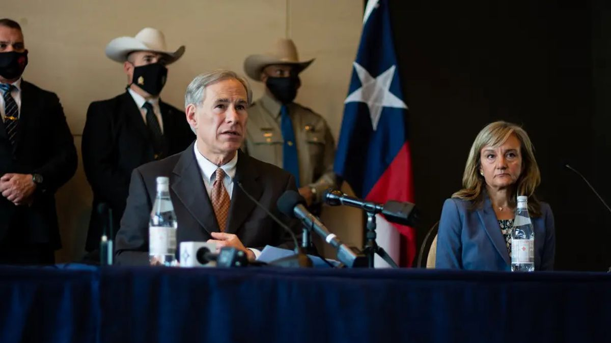 Gov. Greg Abbott holds a press conference in Dallas on March 17.