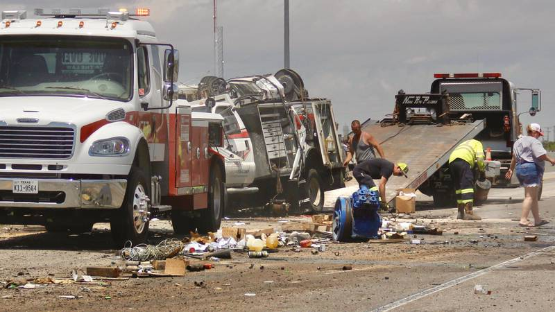 A major crash shut down the eastbound lanes of I-20 in Odessa on Monday.