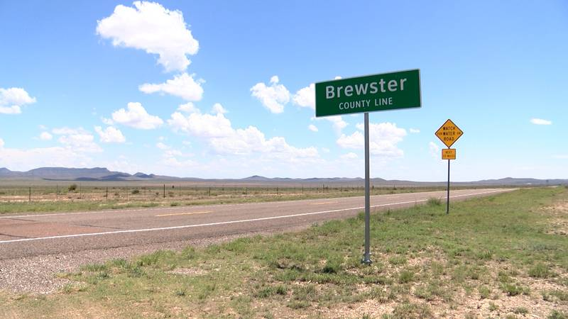 A sign noting the beginning of Brewster County