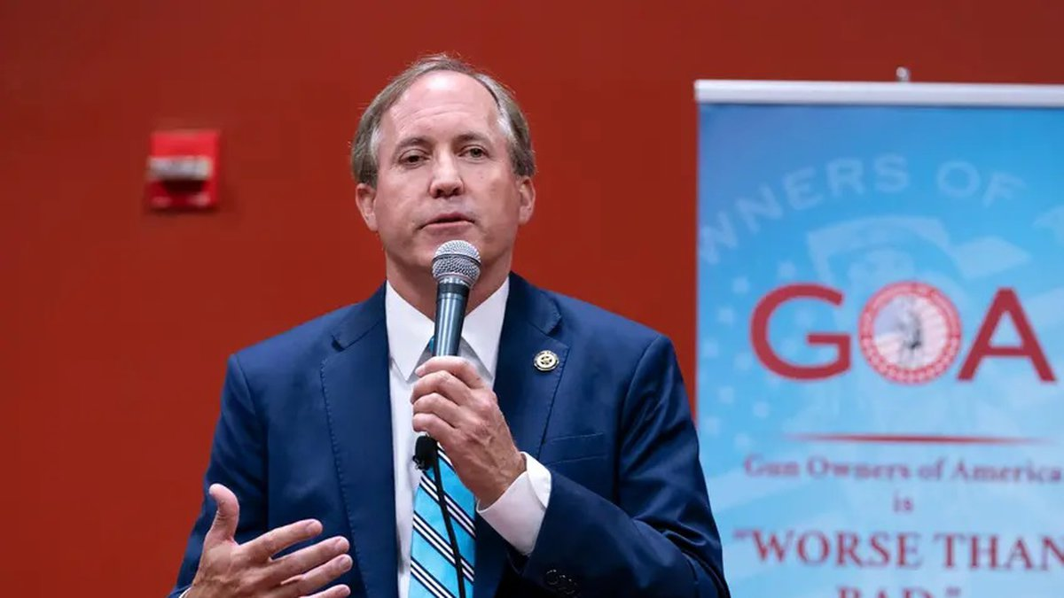 Attorney General Ken Paxton is shown speaking to the Gun Owners of America assembly in 2018.