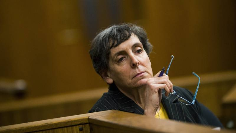 FILE- In this Feb. 5, 2018, file photo, defendant Liane Shekter Smith listens during a...
