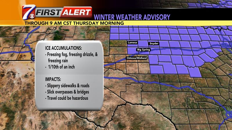 A Winter Weather Advisory is in effect for part of West Texas.