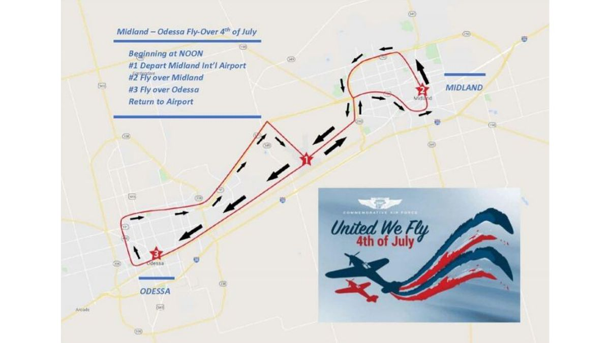 The High Sky Wing will be  flying over Midland and Odessa on the 4th of July.