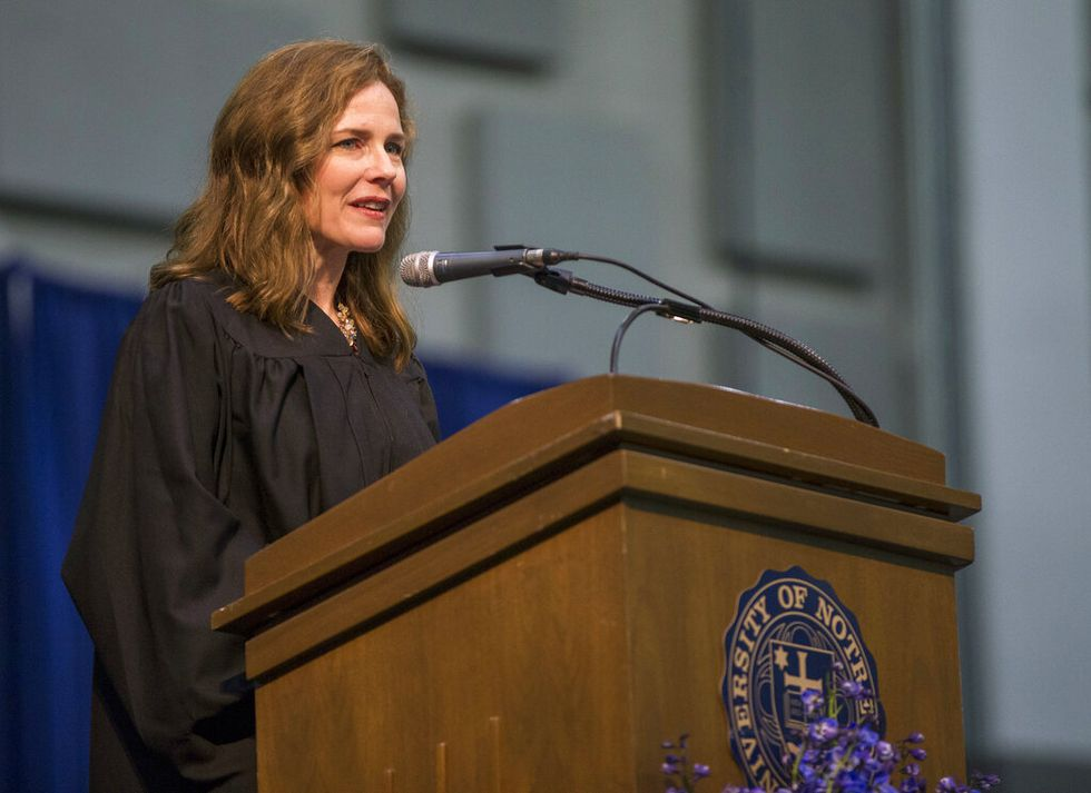 In this May 19, 2018, file photo, Amy Coney Barrett, United States Court of Appeals for the Seventh Circuit judge, speaks during the University of Notre Dame's Law School commencement ceremony at the university, in South Bend, Ind. Barrett, a front-runner to fill the Supreme Court seat vacated by the death of Justice Ruth Bader Ginsburg, has established herself as a reliable conservative on hot-button legal issues from abortion to gun control.