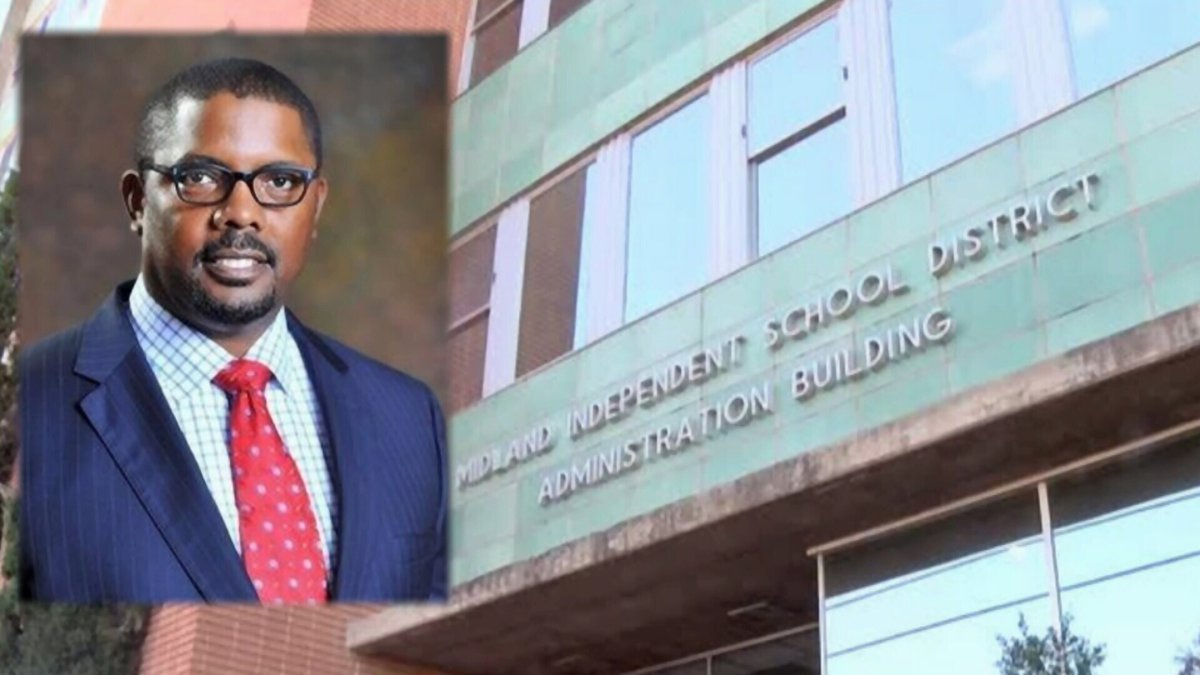 Superintendent Orlando Riddick featured with the Midland ISD administration building