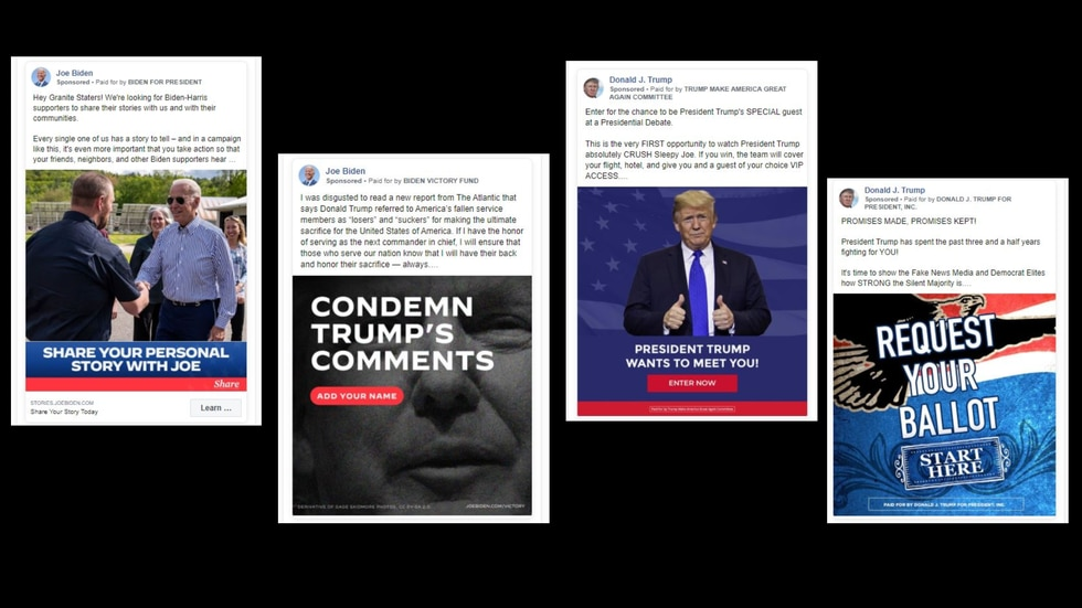 These Facebook ads ran in September and attempt to get users to engage with campaigns. Often campaigns use interactive ads to get people to donate money, take surveys or provide contact information. Facebook has rules dictating interactive ads - including that anything that appears to work like a survey with clickable options actually works in the way it is portrayed.
