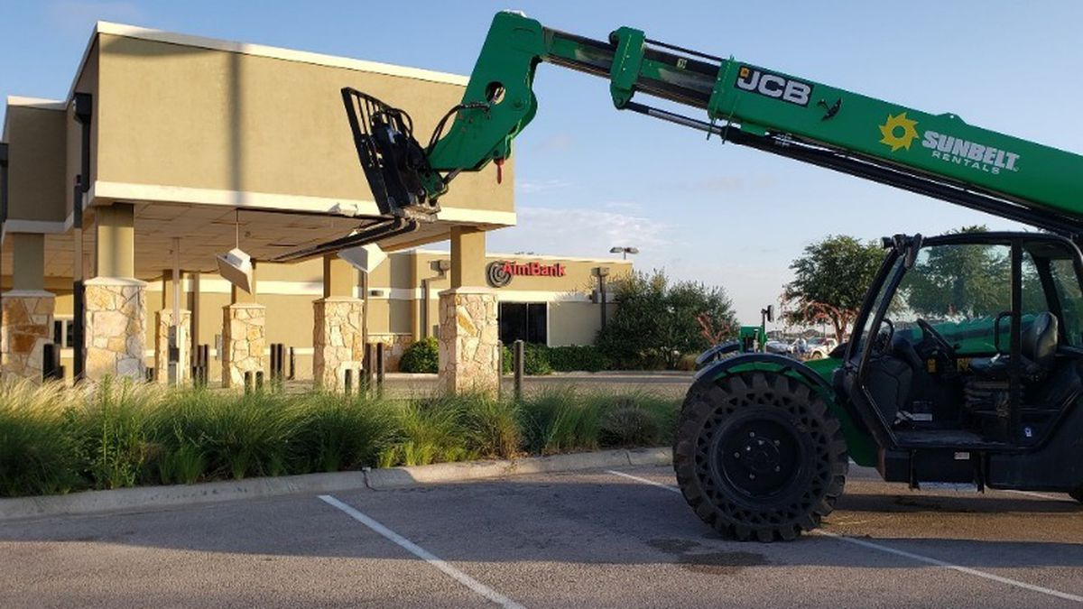 Odessa police say that a stolen forklift was used to steal an ATM from AIM Bank overnight. (Photo: Daniel Cooper)