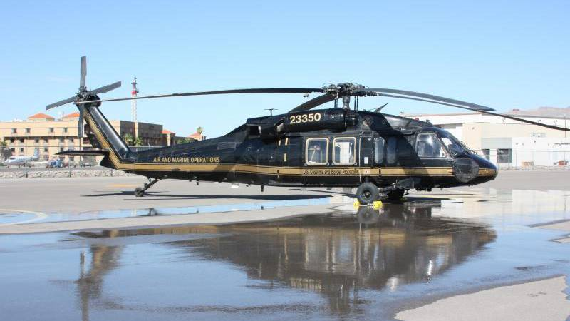 A Customs and Border Protection Air and Marine Operations UH-60 Black Hawk helicopter flew the...
