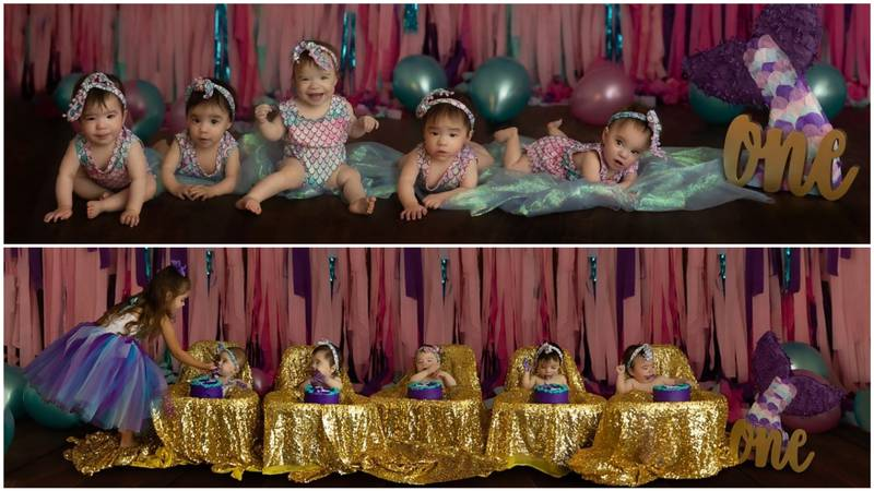 Hadley, Reagan, Zariah, Zylah and Jocely Rodriguez celebrated their first birthday on Tuesday.