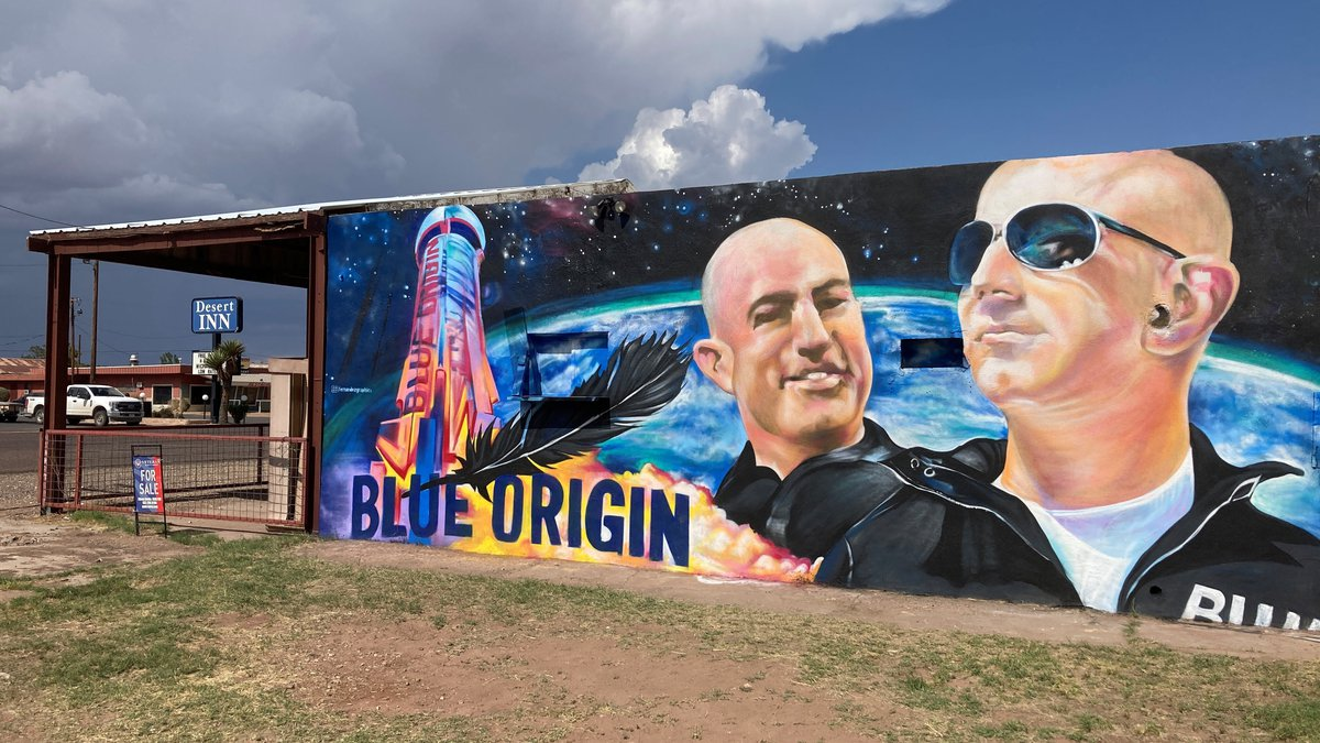 The side of a building in Van Horn, Texas, is adorned with a mural of Blue Origin founder Jeff...