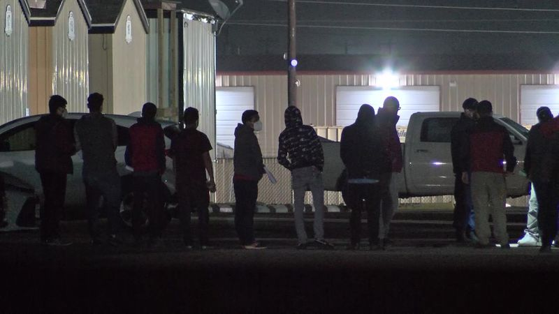 Several buses of migrants arrived at a holding facility in Midland County overnight.