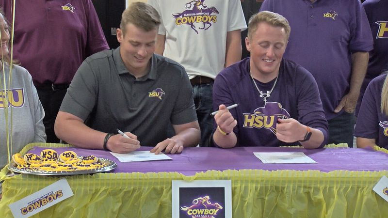 Wink's Cory Stewart and Brock Gibson prepare to sign with Hardin-Simmons