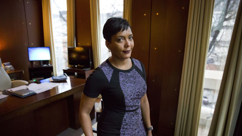 Mayor Keisha Lance Bottoms poses for a photo in her office in Atlanta, Thursday, Jan. 11, 2018.
