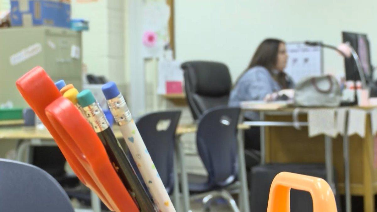 ECISD 6th Grade ELR Teacher at Bonham, Kelcey Burrow, working at her desk ahead of the...