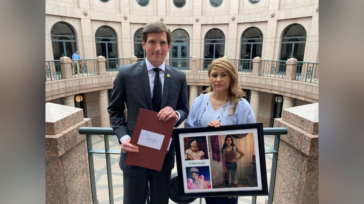 State Representative Brooks Landgraf with  Joanna Leyva, the mother of Leilah Hernandez.