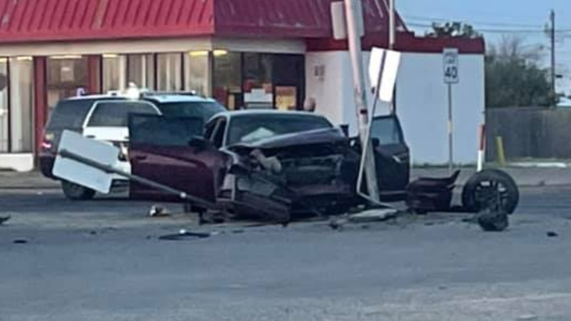 The stolen vehicle crashed in Odessa