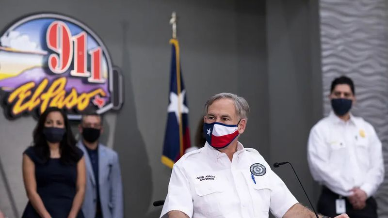 Gov. Greg Abbott meets with local El Paso leaders to discuss the coronavirus situation for the...