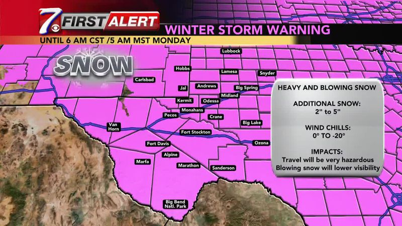 West Texas Winter Weather Forecast 12 p.m. 2/14