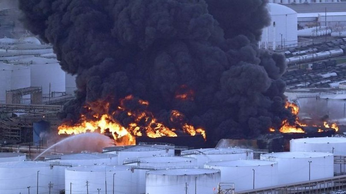 Firefighters battle a petrochemical fire at the Intercontinental Terminals Company Monday,...