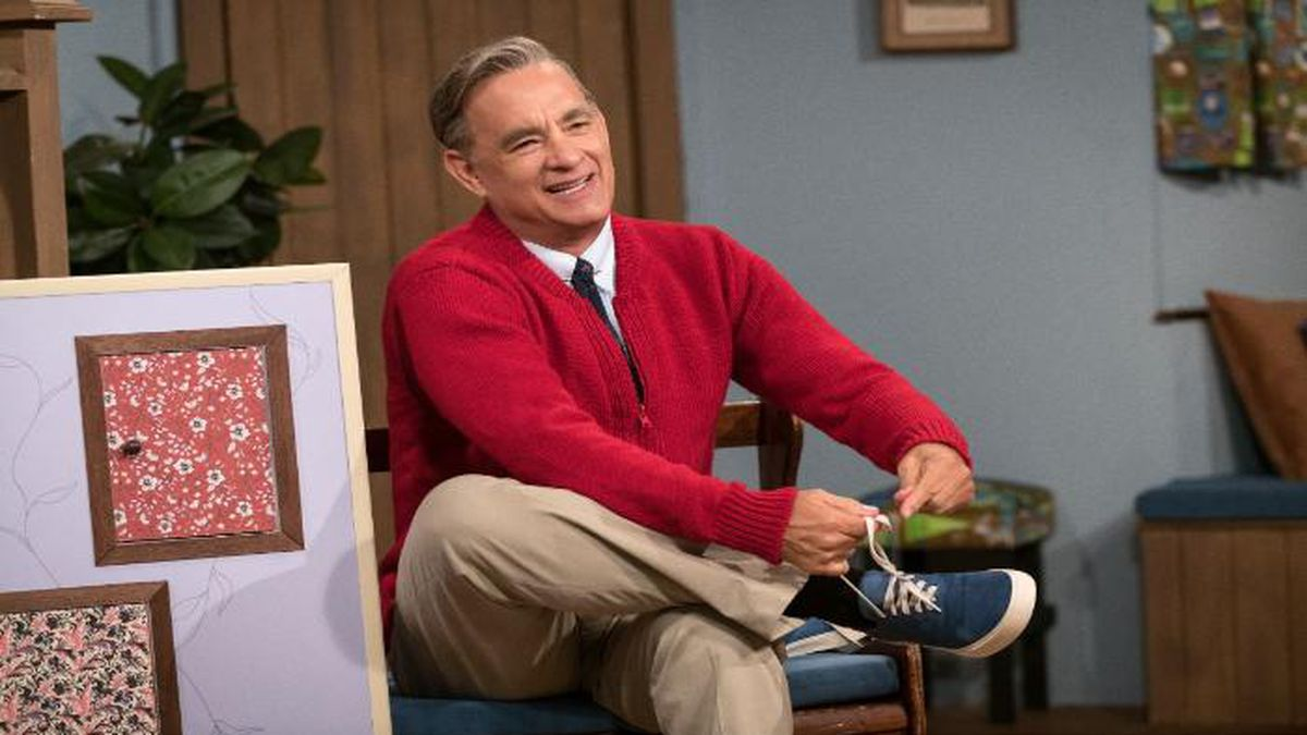 """Tom Hanks is portraying Mr. Rogers in the upcoming film, """"A Beautiful Day in the Neighborhood."""" (Source: Sony Pictures)"""