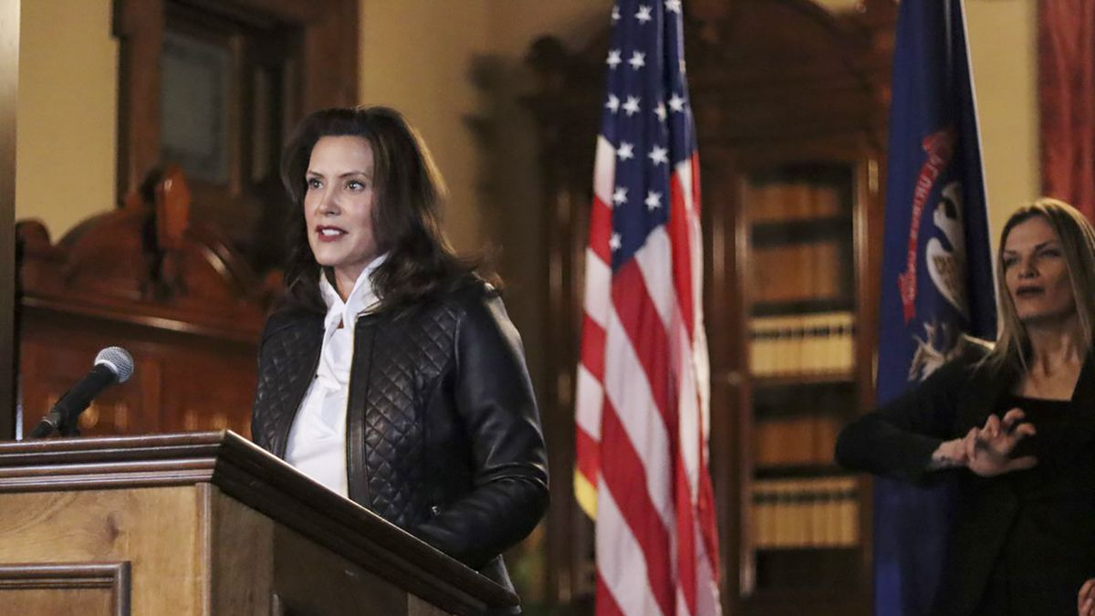 In a photo provided by the Michigan Office of the Governor, Michigan Gov. Gretchen Whitmer...