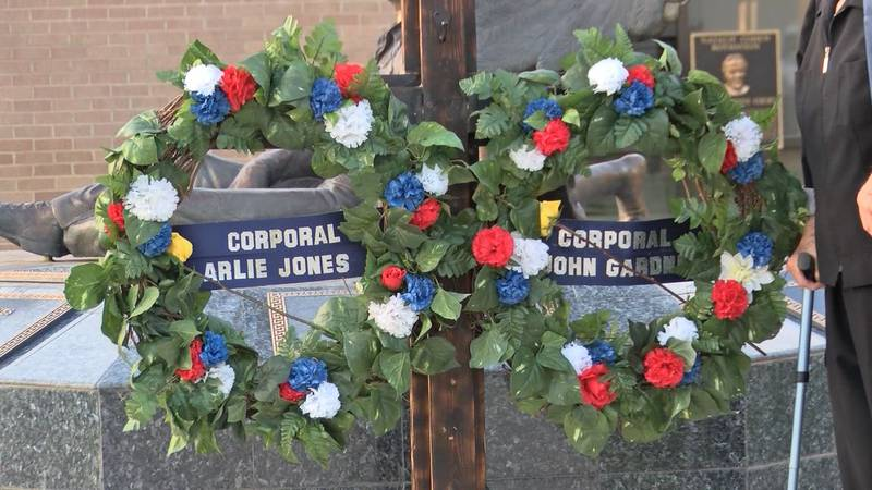 The Odessa Police Department placed wreaths to remember Corporal Arlie Jones and Corporal Scott...