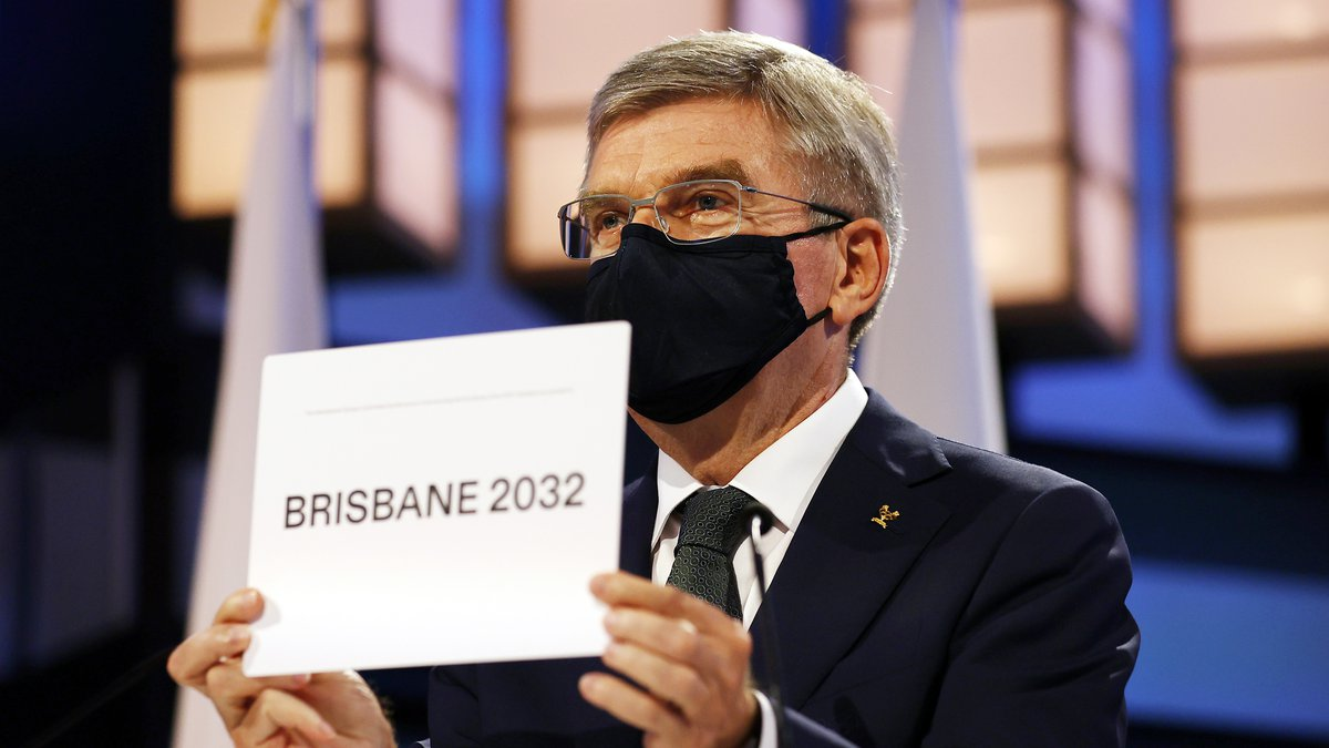 President of the International Olympic Committee Thomas Bach announces Brisbane as the 2032...