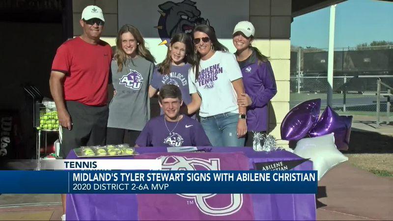 Midland High tennis star Tyler Stewart signs with Abilene Christian