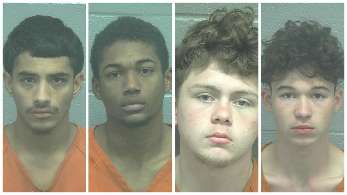 Rogelio Cadena, 18, Larry West, 17, Zayden Hayes, 18, and John Hayes, 17. The mugshot for Rogelio Vasquez was not immediately available. (Mugshots: Midland County Jail)
