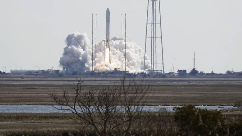 Northup Grumman's Antares rocket lifts off the launch pad at NASA's Wallops Island flight...