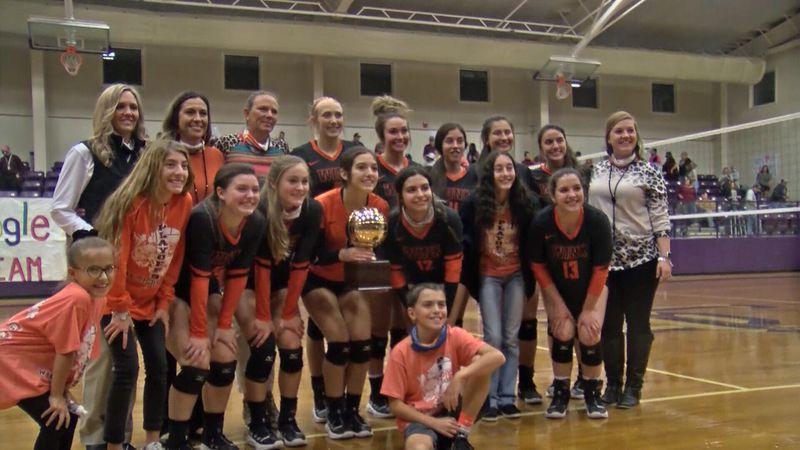Wink volleyball celebrates its regional semifinal win