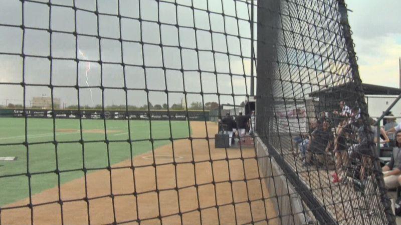 Lightning strikes at Permian baseball game