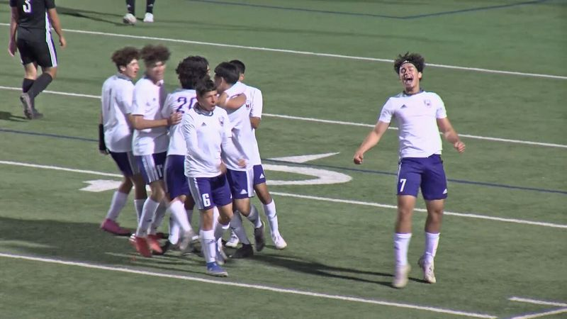 The Midland Bulldogs celebrate their last minute goal against Permian on Feb. 5