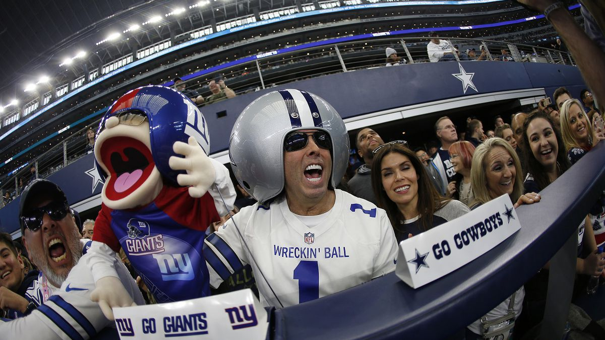 Fans prior to NFL football game between the Dallas Cowboys and the Washington Redskins at AT&T Stadium in Arlington, Texas, Sunday, Dec. 15, 2019. (AP Photo/Ron Jenkins)