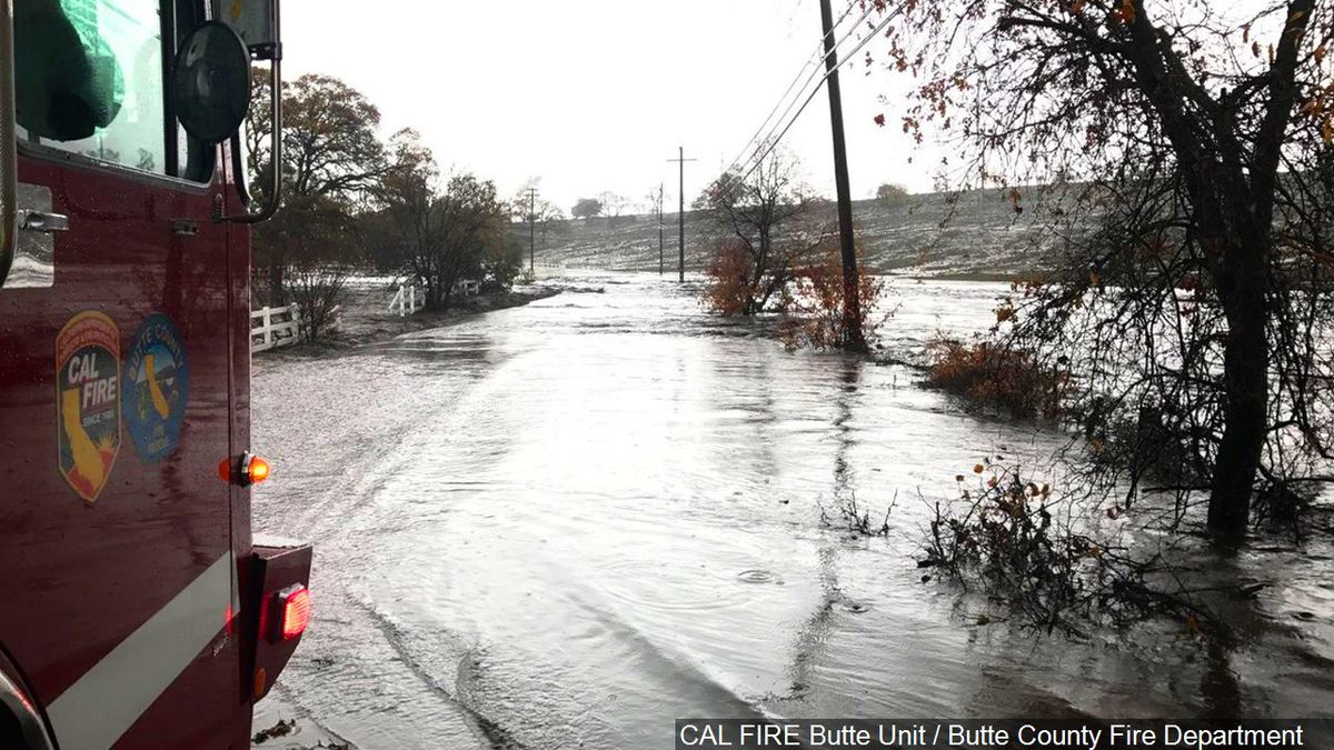 PHOTO: Flooding along the Butte Creek Canyon in Butte County, California, Photo Date: 11/29/2018