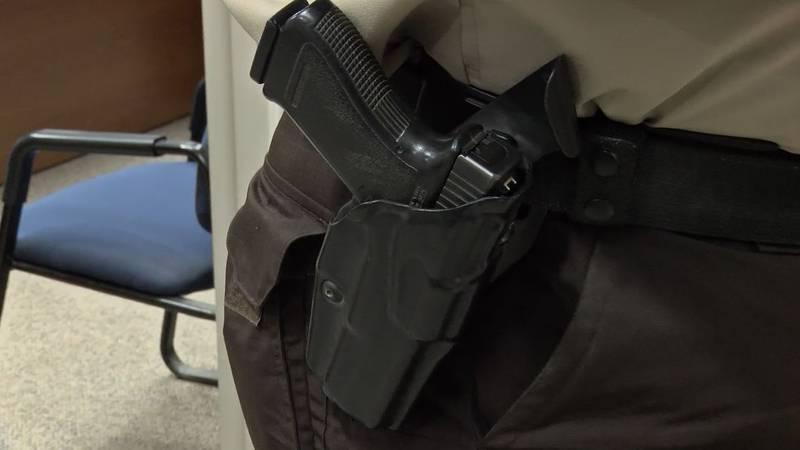 A law enforcement officer's service weapon.