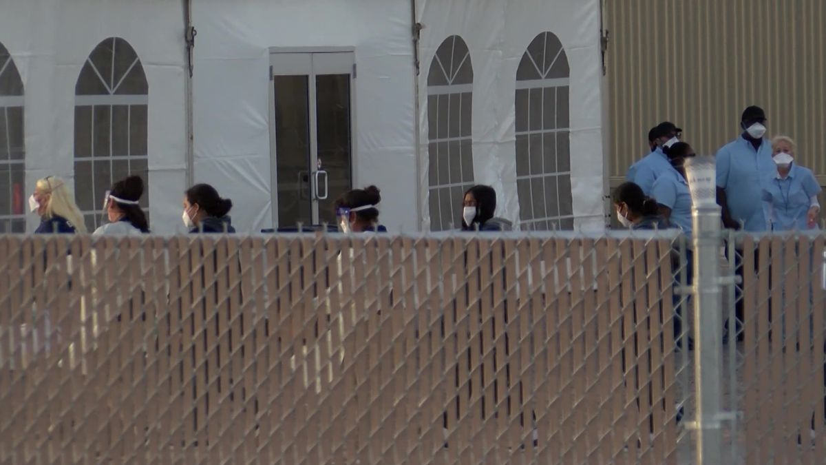 Migrant teens arrive at the holding facility in Pecos.