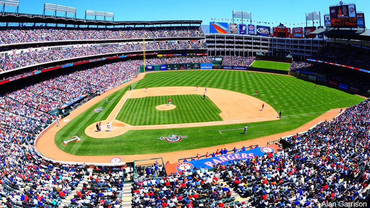 Fans attend a Texas Rangers game in Arlington.