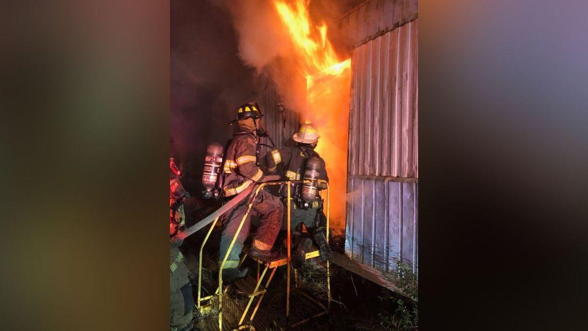 Firefighters battled a mobile home fire on Thursday morning.
