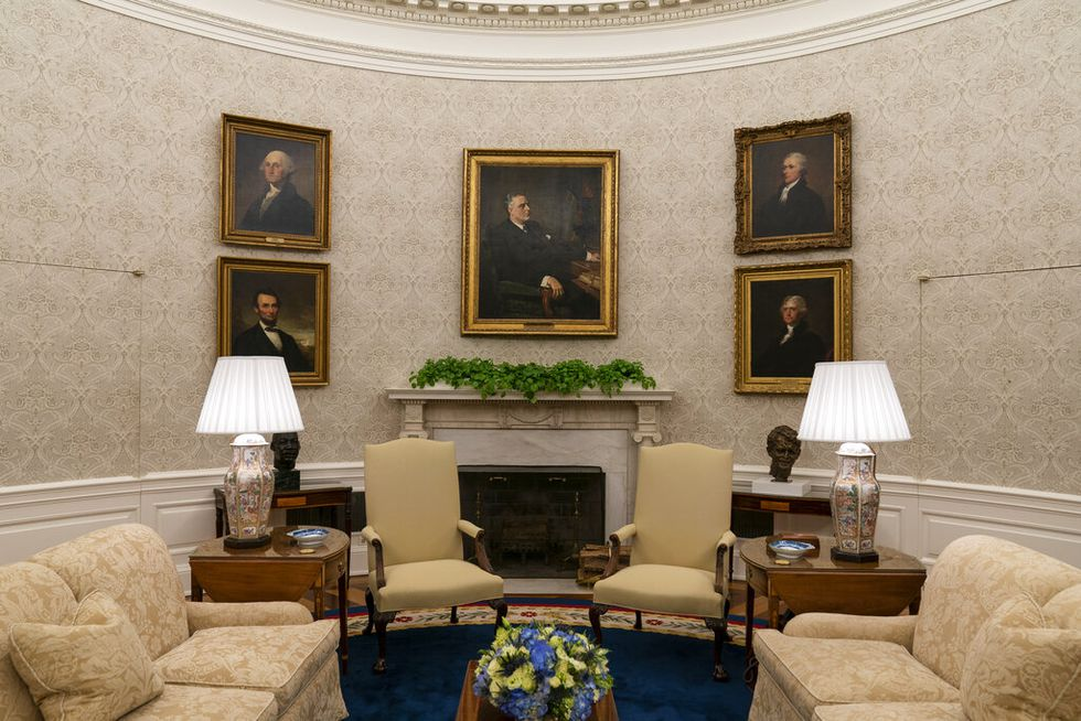 The Oval Office of the White House is newly redecorated for the first day of President Joe...