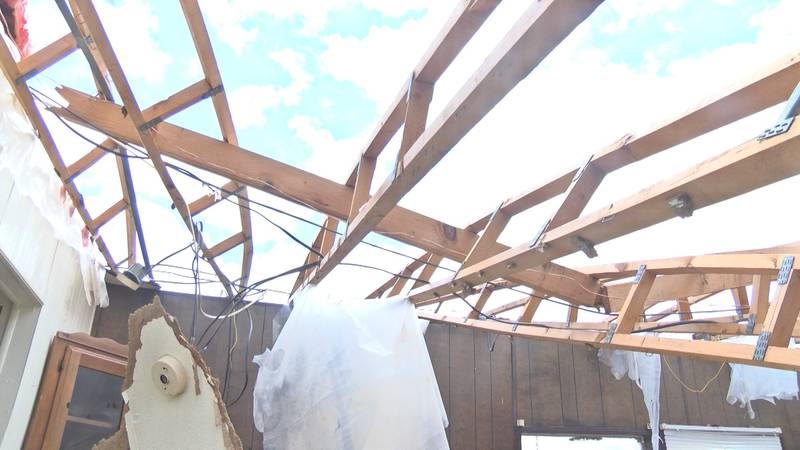 The roof of Socorro Gonzalez's home was blown off during this weekend's severe weather.