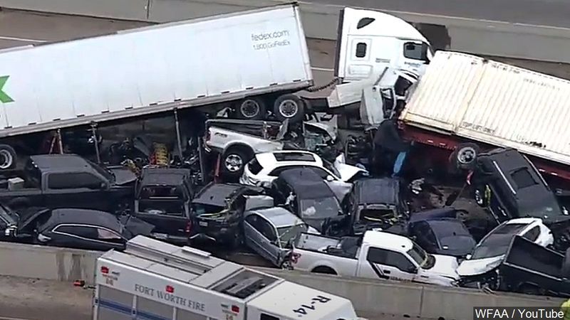 Six people were killed in a massive crash along I-35 in Fort Worth on February 11.