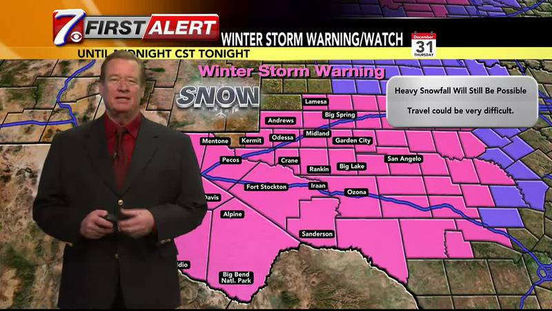 Winter Storm Warning in effect for most of West Texas