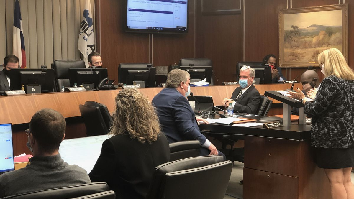Midland's City Council members discuss a possible mask ordinance at a meeting Tuesday morning.
