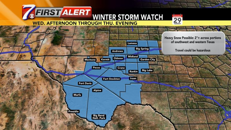A Winter Storm Watch will be in effect from Wednesday afternoon through Thursday evening.